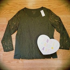NWT By Chico's Lace 'Lencra' Shimmer Blouse